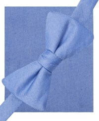 Alfani Spectrum Seasonal Solid Pre Tied Bow Tie And Pocket Square Set Only At Macy's Blue