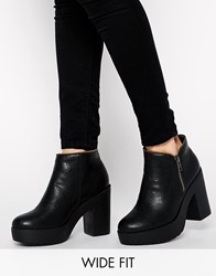 New Look Wide Fit Aggro Heeled Ankle Boots Black