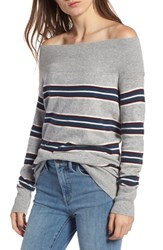 Treasure And Bond Off The Shoulder Sweater Grey Heather Ivory Stripe