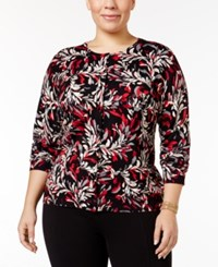 Karen Scott Plus Size Floral Print Cardigan Only At Macy's Deep Black Combo