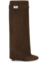 Givenchy 'Shark Lock' Wedge Boots Brown