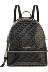 Michael Michael Kors Woman Printed Glossed Pvc Backpack Black