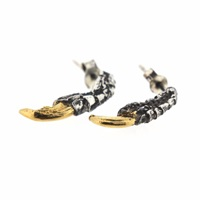 Tessa Metcalfe Oxidised Pigeon Claw Studs With Gold Nails Gold Black Silver