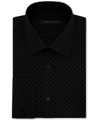 Sean John Men's Fitted Tall Tailored Cut Black Dot Dress Shirt