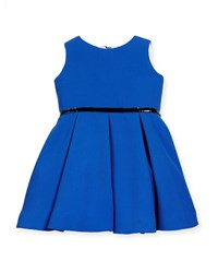 Helena Sleeveless Pleated A Line Dress Royal