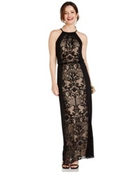 London Times Lace Inset Halter Gown Black Nude