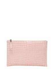 Rochas Croc Embossed Leather Pouch