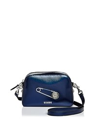 Versus By Versace Safety Pin Metallic Leather Crossbody Night Blue Silver