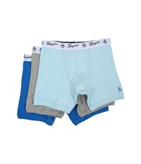 Original Penguin 100 Cotton 3 Pack Boxer Brief Light Blue Heather Grey Medium Blue Men's Underwear Multi