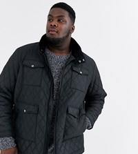 Jacamo Quilted Jacket With Pockets In Black