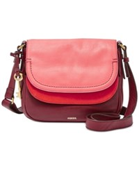 Fossil Peyton Colorblocked Double Flap Bag Red Multi