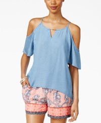 Thalia Sodi Off The Shoulder Chambray Top Only At Macy's Light Wash