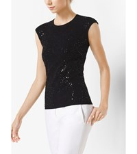 Sequined Cap Sleeve Pullover Black