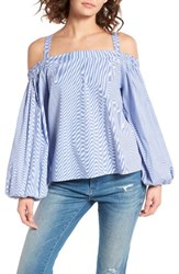 Soprano Women's Off The Shoulder Top White Blue Stripe