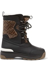 Fendi T Rex Shearling Lined Logo Print Coated Canvas And Leather Ankle Boots Black