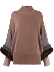 Agnona Fox Fur Trim Turtleneck Jumper Pink