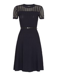 Episode Knit Dress With Sheer Top And Belt Navy