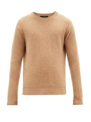 Allude Ribbed Crew Neck Cashmere Sweater Beige