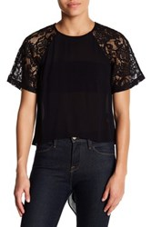 French Connection Taza Lace Blouse Black