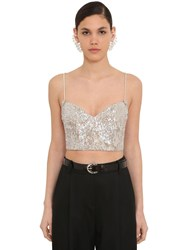 Magda Butrym Sequined Bustier W Crystal Straps Silver