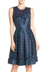 Women's Taylor Dresses Polka Dot Shantung Fit And Flare Dress