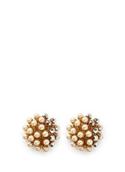 Miriam Haskell Beaded Glass Pearl Cluster Clip Earrings Metallic