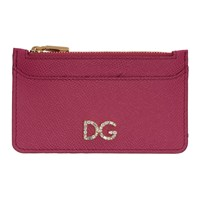 Dolce And Gabbana Pink Crystal Logo Multi Card Holder