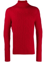 Drumohr Roll Neck Fitted Sweater Red