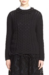 Simone Rocha Cable Knit Sweater With Jeweled Neckline Black Jet