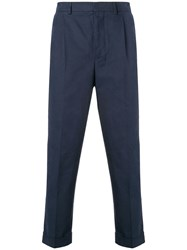 Ami Alexandre Mattiussi Pleated Carrot Fit Trousers Blue