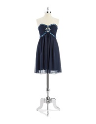 Cachet Sleeveless Sweetheart Dress Navy