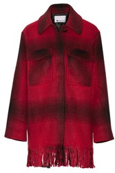 Alexander Wang T By Fringed Checked Flannel Coat Red