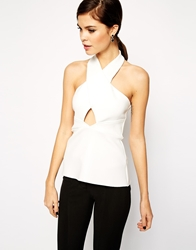 Asos Top With Halter Neck Cut Out In Smart Fabric Ivory