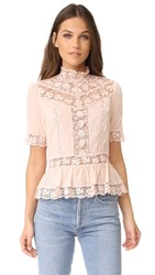 Rebecca Taylor Short Sleeve Eyelet Top Ballet