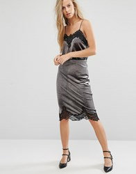 Miss Selfridge Velvet Lace Trim Skirt Grey