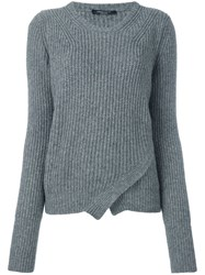 Roberto Collina Wrap Effect Cable Knit Jumper Grey