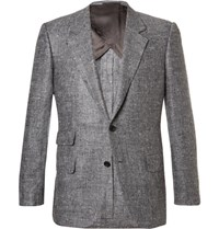 Kingsman Grey Eggsy Slim Fit Donegal Silk And Linen Blend Herringbone Blazer Gray