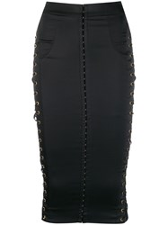 Murmur Lace Up Detail Fitted Skirt Black