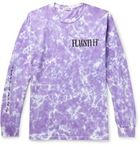 Flagstuff Printed Tie Dyed Cotton Jersey T Shirt Purple