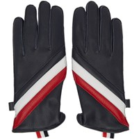 Thom Browne Navy Quilted Diagonal Stripe Gloves