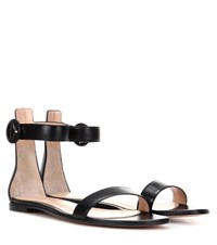 Gianvito Rossi Portofino Flat Leather Sandals Black