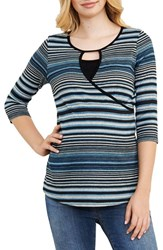 Maternal America Women's Stripe Crossover Maternity Nursing Top