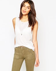 French Connection Polly Plains Classic Sleeveless V Neck Top Winterwhite