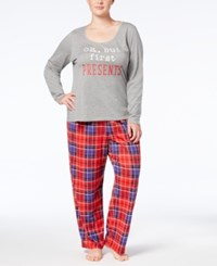 By Jennifer Moore Plus Size Top And Printed Pants Pajama Set Created For Macy's Holiday Plaid
