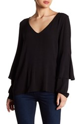 Kensie Ruffled Long Sleeve Blouse Black