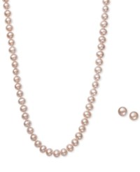 Macy's Pink Cultured Freshwater Pearl 6Mm Necklace And Matching Stud 7 1 2Mm Earrings Set In Sterling Silver