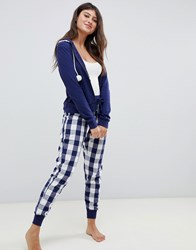 Boux Avenue Navy Gingham Three Piece Pajama Set Navy