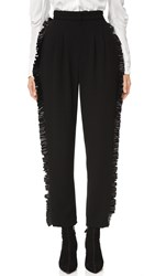 Rodarte Wool Trousers With Leather Ruffle Black