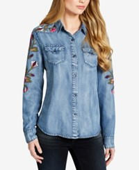 Jessica Simpson Juniors' Embroidered Chambray Shirt Denim