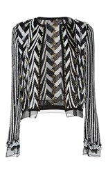 Giambattista Valli Hand Beaded Chevron Evening Jacket Black